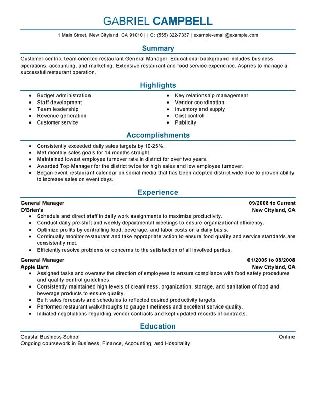 Restaurant General Manager Resume Examples -- Free to Try Today - finance manager resume sample