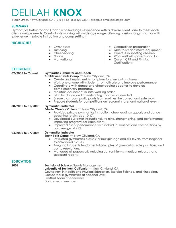 gymnastics coach resume - Onwebioinnovate - coaches resume