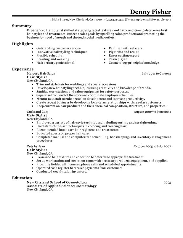 Hair Stylist Resume Examples \u2013 Free to Try Today MyPerfectResume - Hairstylist Resume Examples