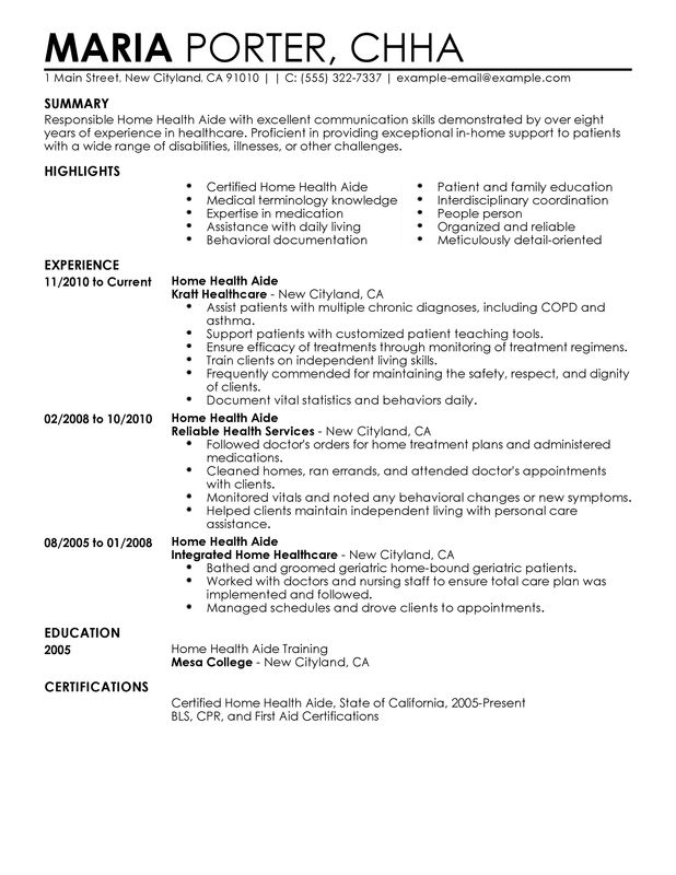 Home Health Aide Resume Examples \u2013 Free to Try Today MyPerfectResume - Healthcare Resume Sample