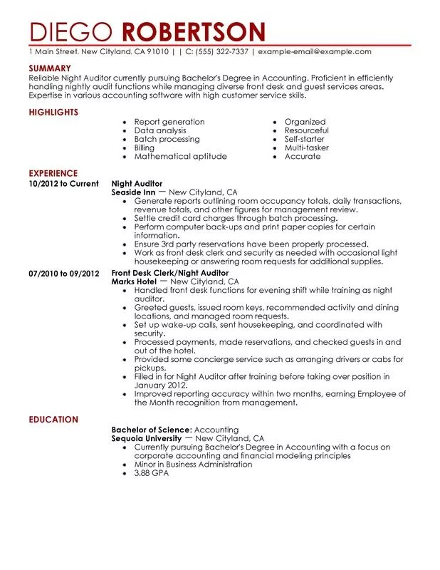 Night Auditor Resume Examples \u2013 Free to Try Today MyPerfectResume - hotel resume