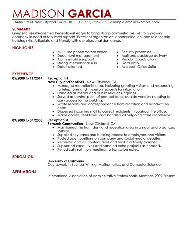 Unforgettable Receptionist Resume Examples to Stand Out - resume templates for receptionist position