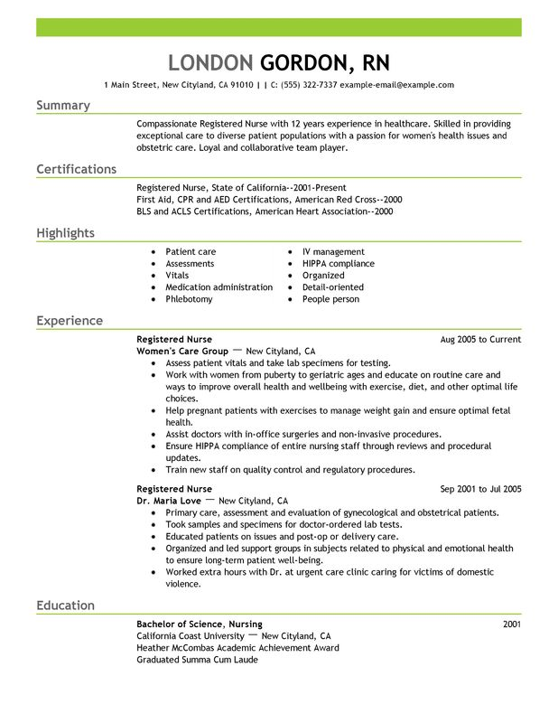 Unforgettable Registered Nurse Resume Examples to Stand Out - example of a nursing resume