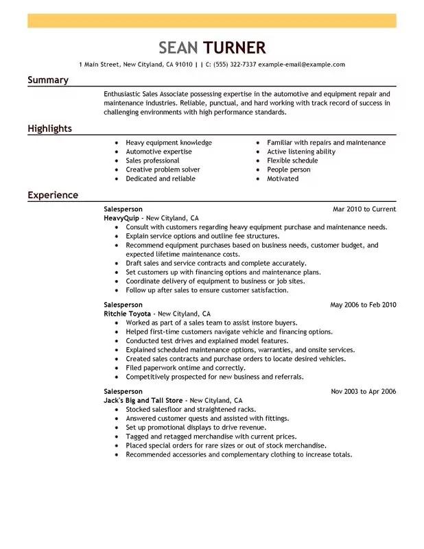 salesperson resume - Doritmercatodos - retail salesperson resume sample