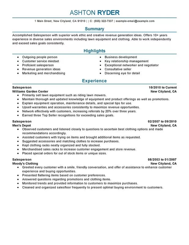 Retail Salesperson Resume Examples {Created by Pros} MyPerfectResume - experience summary resume