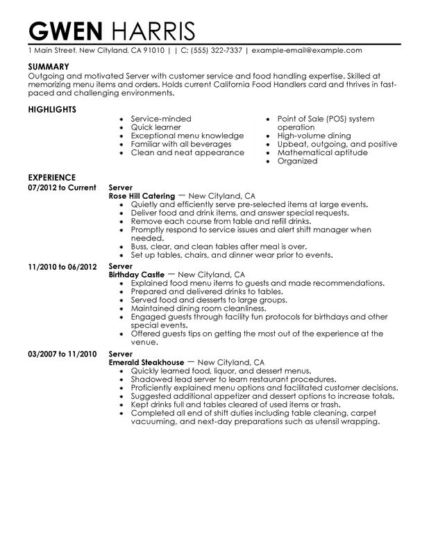 Unforgettable Server Resume Examples to Stand Out MyPerfectResume - beverage server sample resume