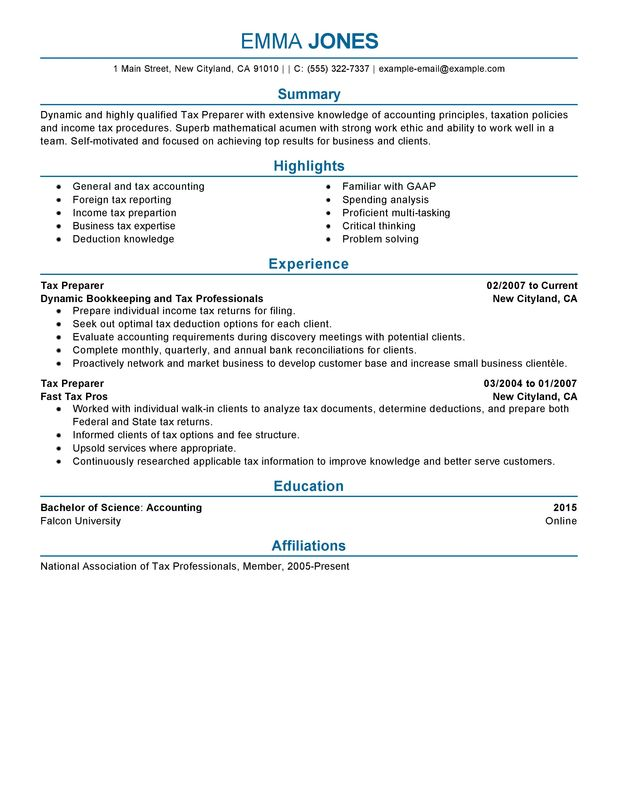 Tax Preparer Resume Examples \u2013 Free to Try Today MyPerfectResume - tax accountant resume sample