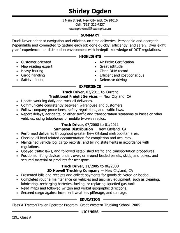 Truck Driver Resume Examples {Created by Pros} MyPerfectResume - sample resume for driver