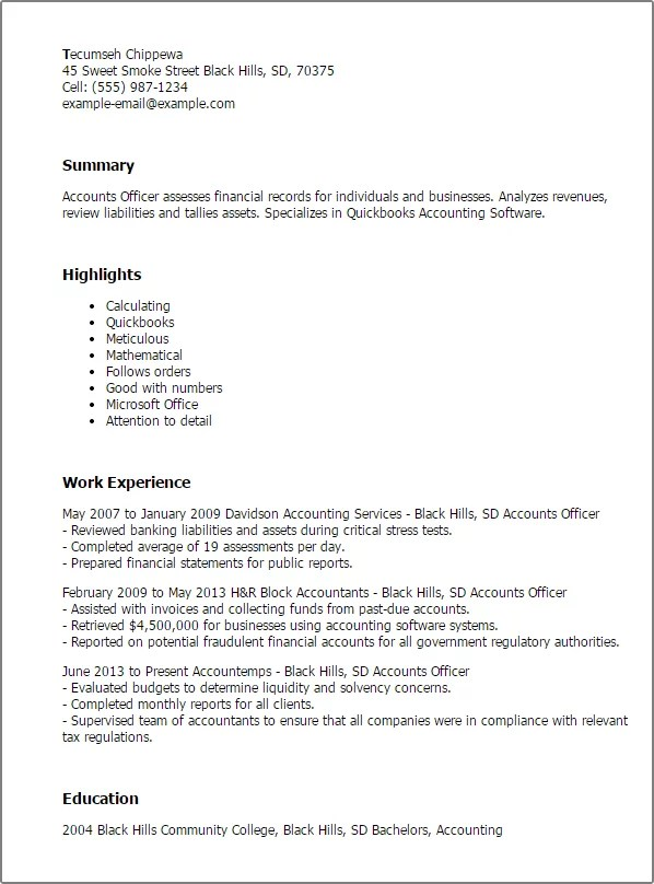 Bsr Resume Sample Library And More Professional Accounts Officer Templates To Showcase Your