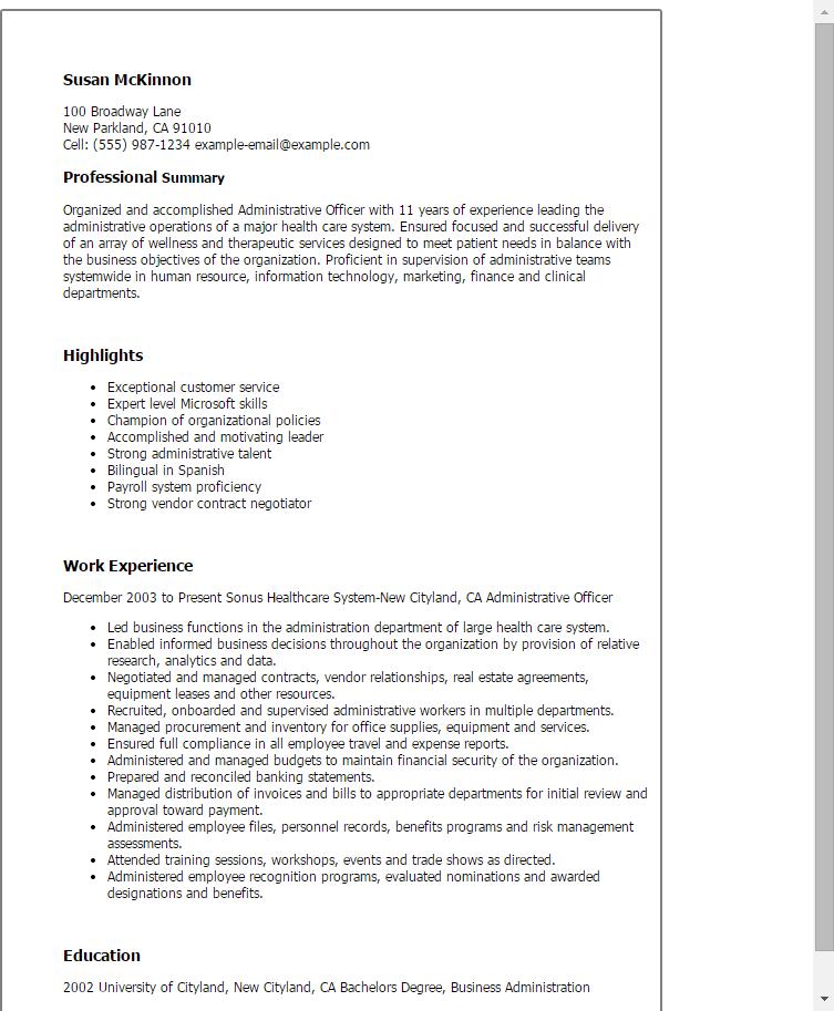 Admin Officer Sample Resume