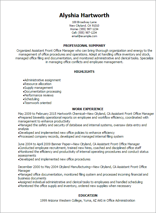 Front Office Manager Job Description For Resume