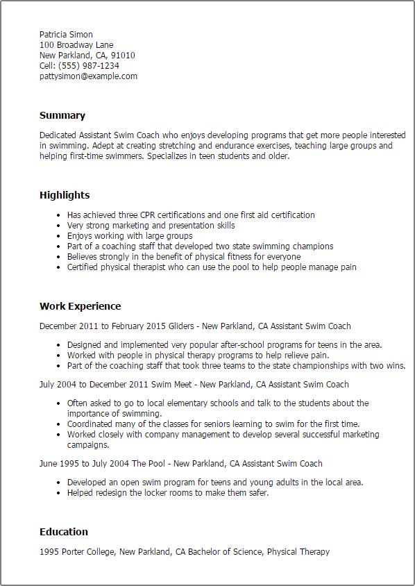 sample coaching resume cover letter