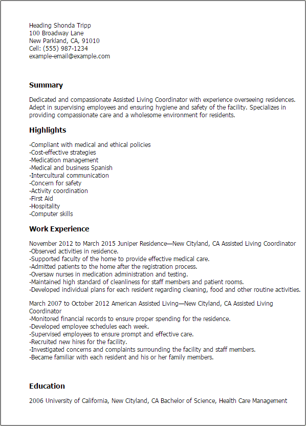 Senior It Manager Resume Example Professional Assisted Living Coordinator Templates To
