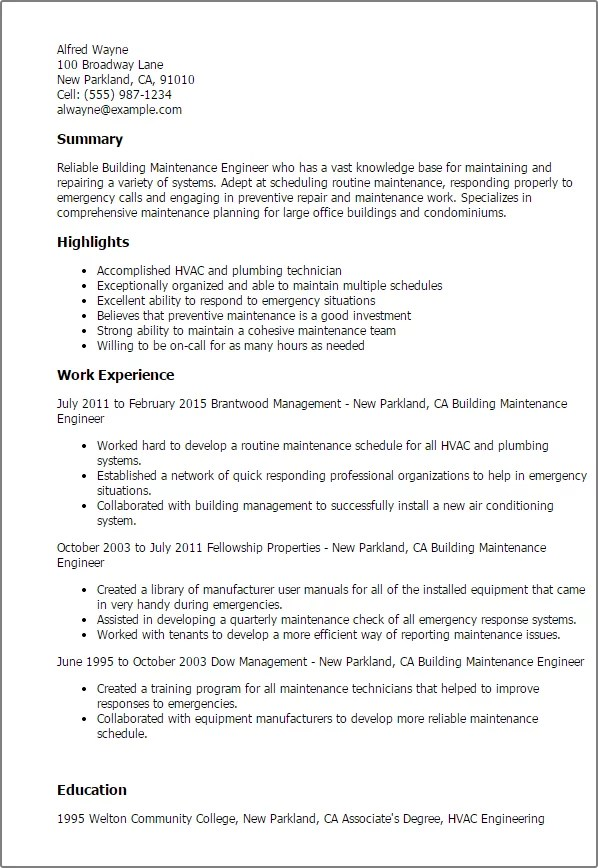 Mechanical Maintenance Engineer Cv Example. resume examples for ...