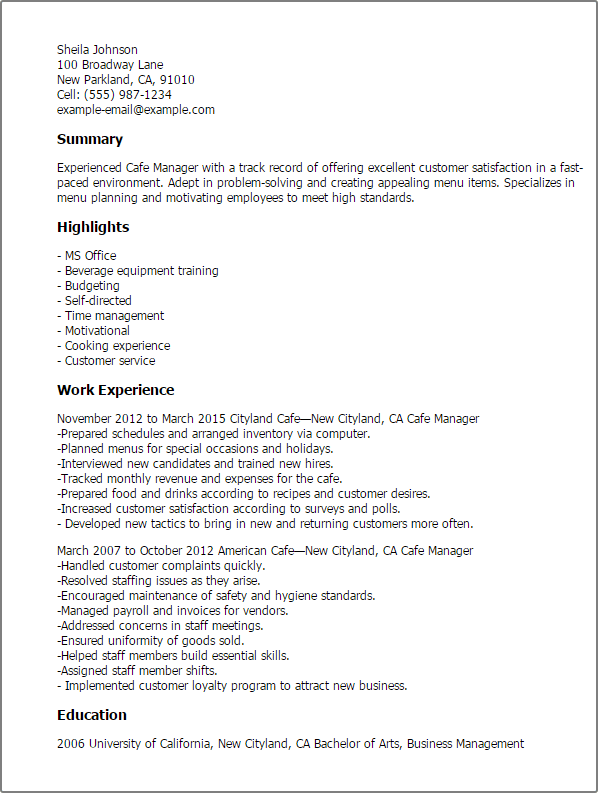 bar manager job description resume