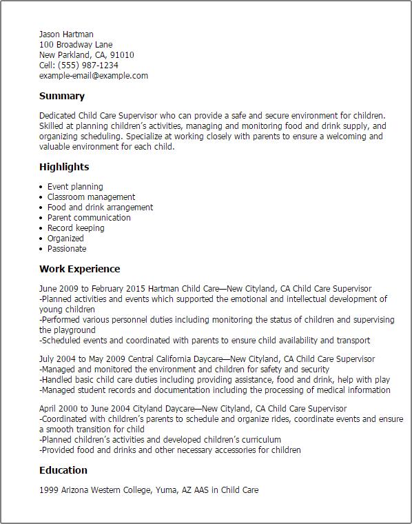 Sample Resume For Teachers Assistant In Daycare Center – Sample Resume Child Care