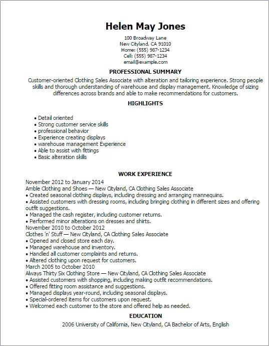 Sales associate description for resume – Retail Sales Associate Job Description