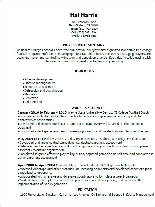 resume for college athletic director athletics director resume example workbloom college football coach resume templates to