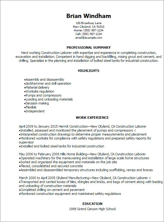 resume title general labor – Construction Laborer Job Description