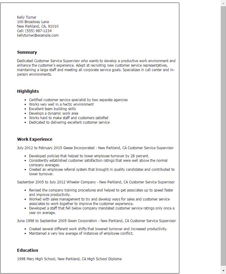 call center supervisor resume templates
