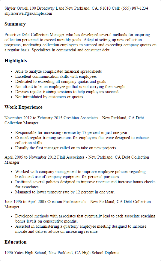 collection agent resume resume center 20 call center resume - Collection Agent Resume