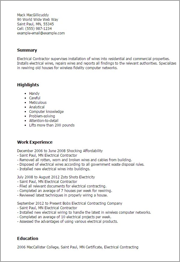 Cover Letter Contractor Resume Sample