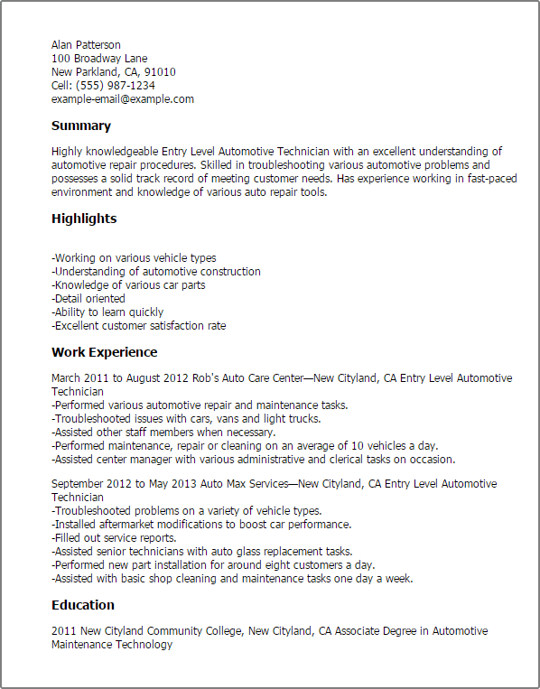 associate computer technician resume