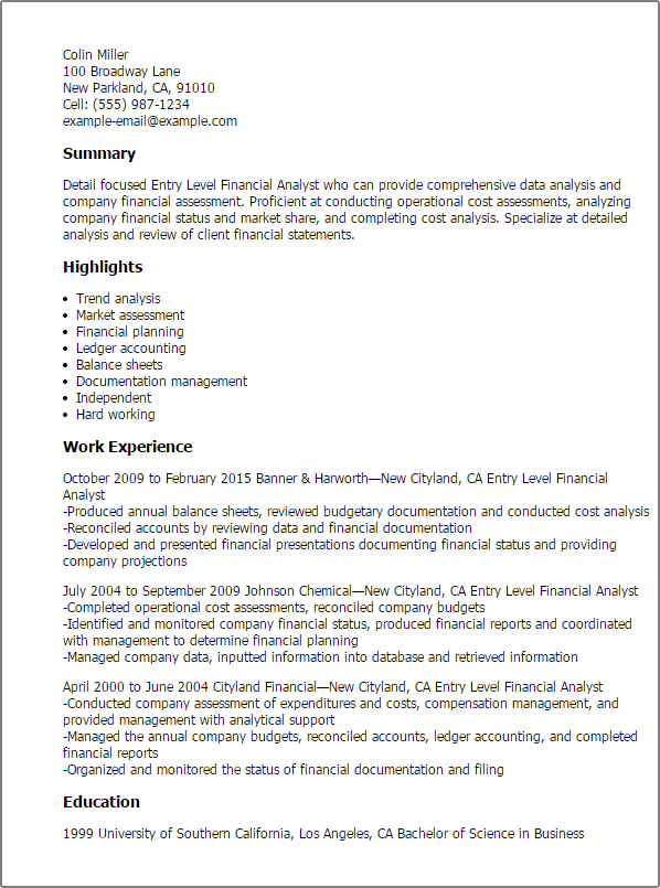 Financial Analyst Resume Examples Windenergyinvesting
