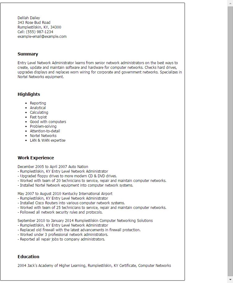 Network Administrator Responsibilities Resume Job Description Level Engineer Sample For Entry