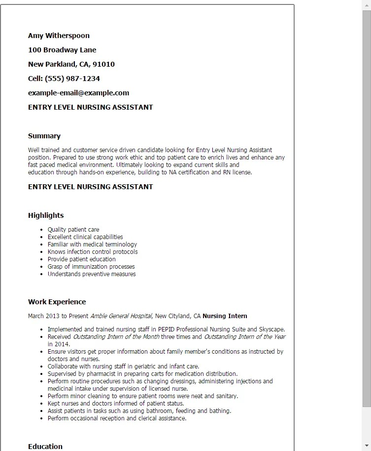 Sample Resume For Cna Entry Level | Sample Customer Service Resume