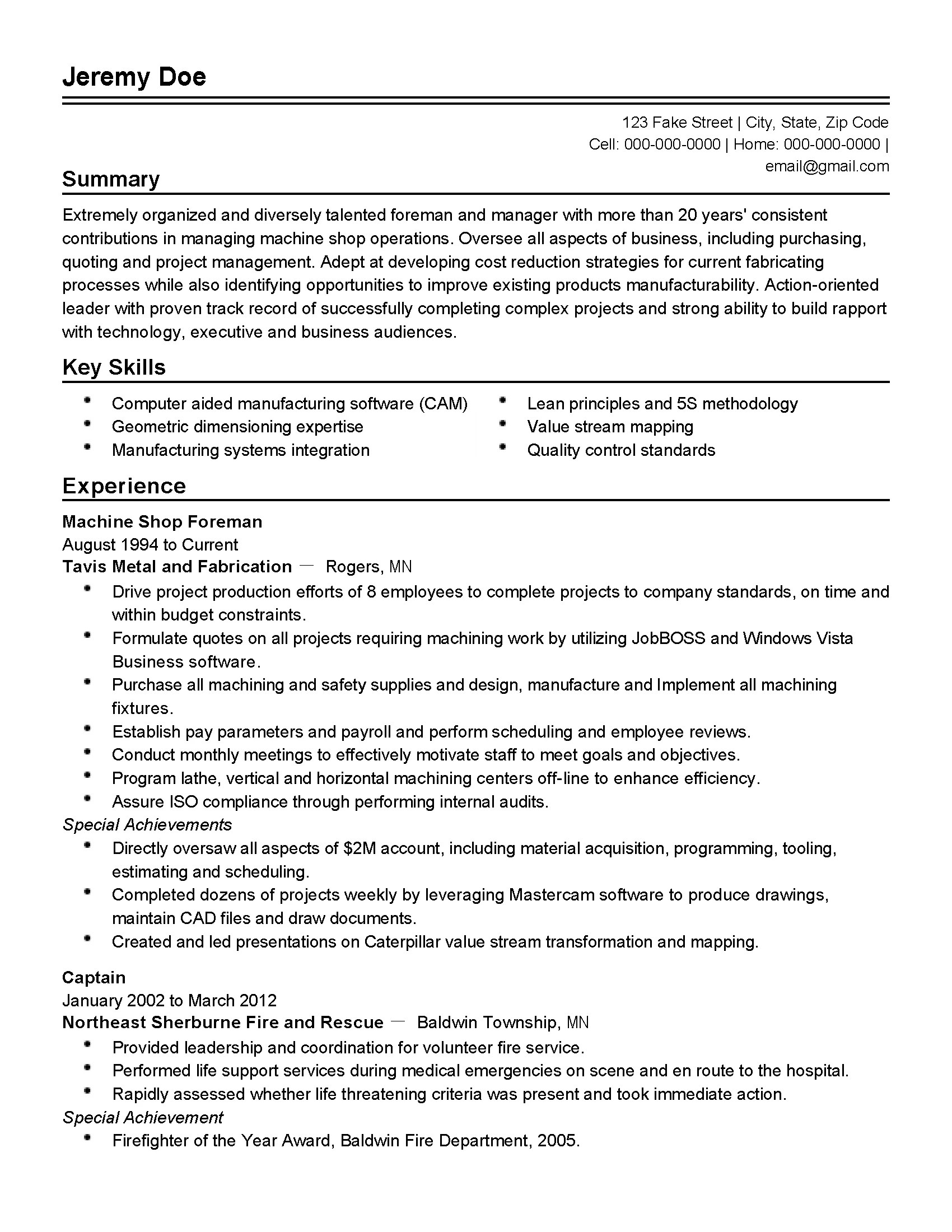 resume examples for production supervisor production supervisor resume sample example template professional machine shop foreman templates. Resume Example. Resume CV Cover Letter