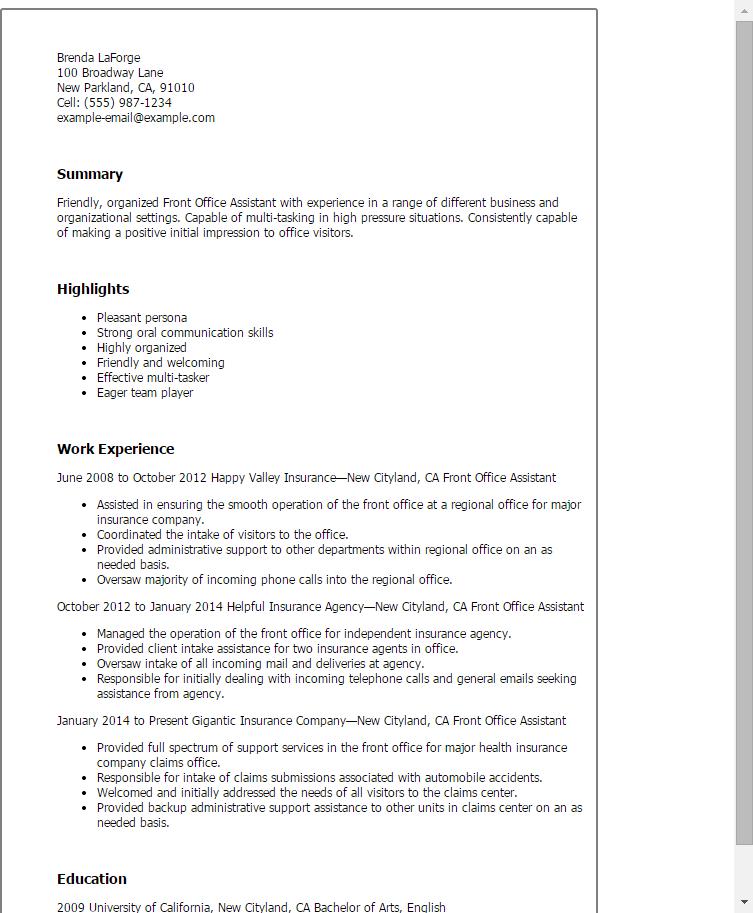 dental assistant front office resume
