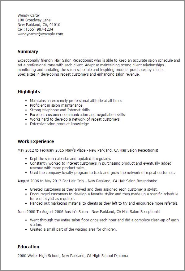 Resume For Receptionist In Hair Salon – Sample Resume for Receptionist