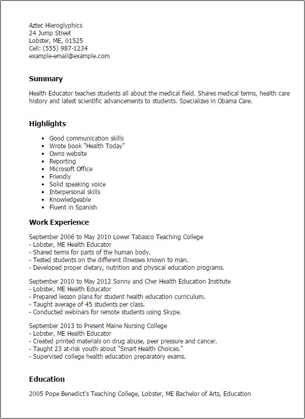Nutrition student resume objective
