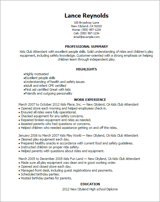 Student Resume Babysitting College Student Resume Example The Balance Professional Kids Club Attendant Templates To Showcase