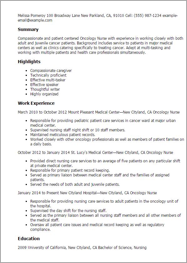 professional registered nurse resume nursing cover letter example