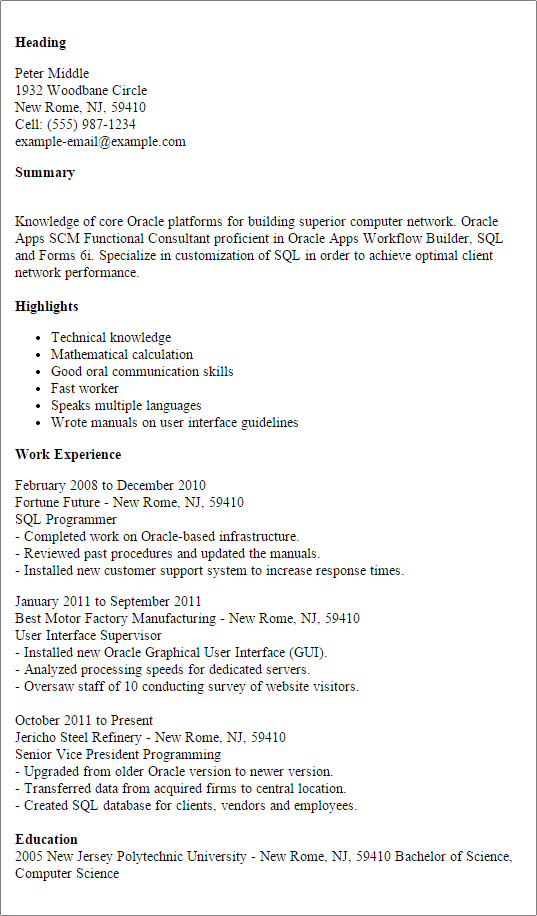 Job Resume Customer Service