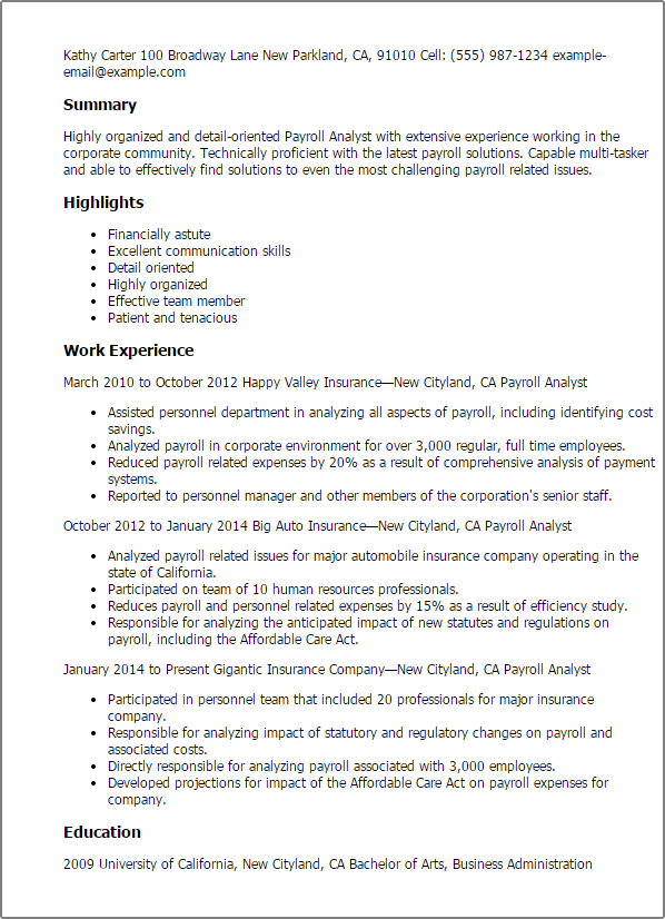 Finance Officer Resume Samples Jobhero Professional Payroll Analyst Templates To Showcase Your