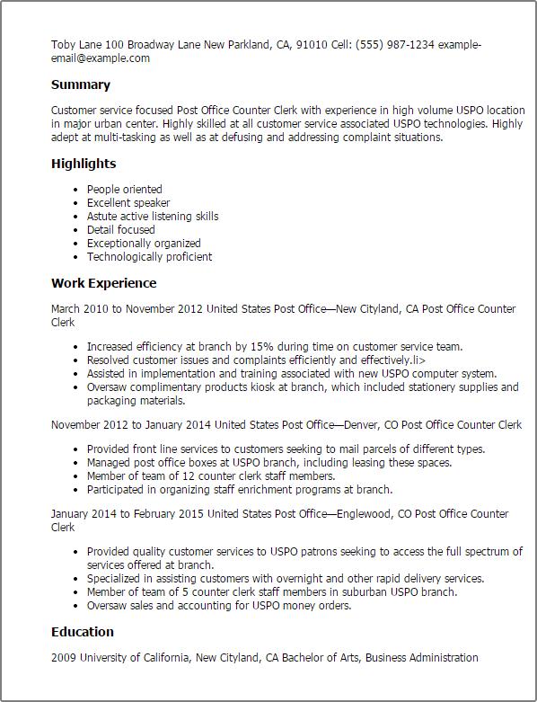 Resume Sample For Unit Clerk Medical Record Clerk Resume Sample Professional Post Office Counter Clerk Templates To
