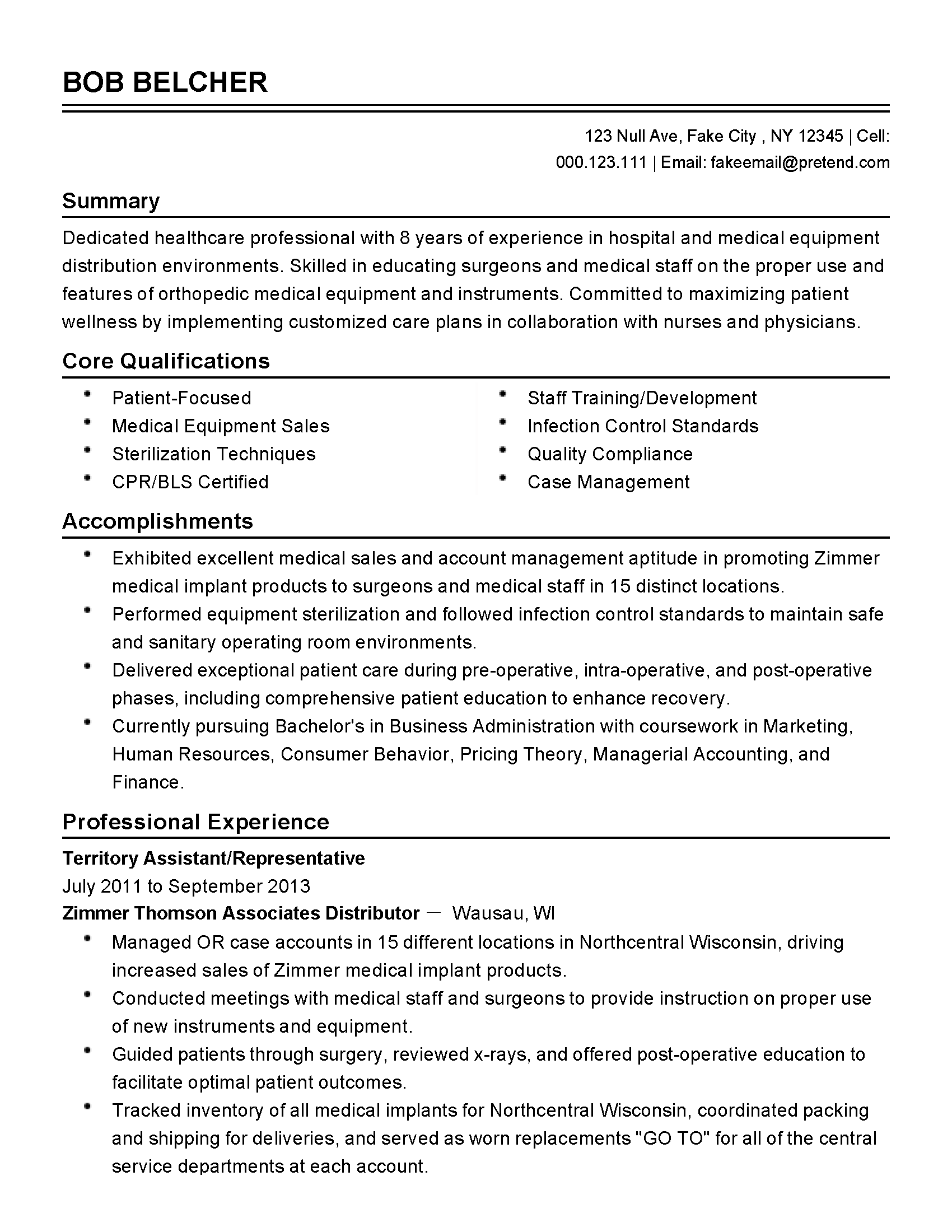 sample healthcare professional resume
