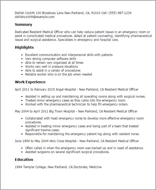 Certified Nursing Assistant Resume Sample Professional Resident Medical Officer Templates To