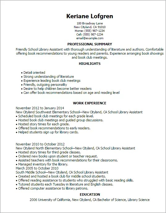 school librarian resume example. Resume Example. Resume CV Cover Letter