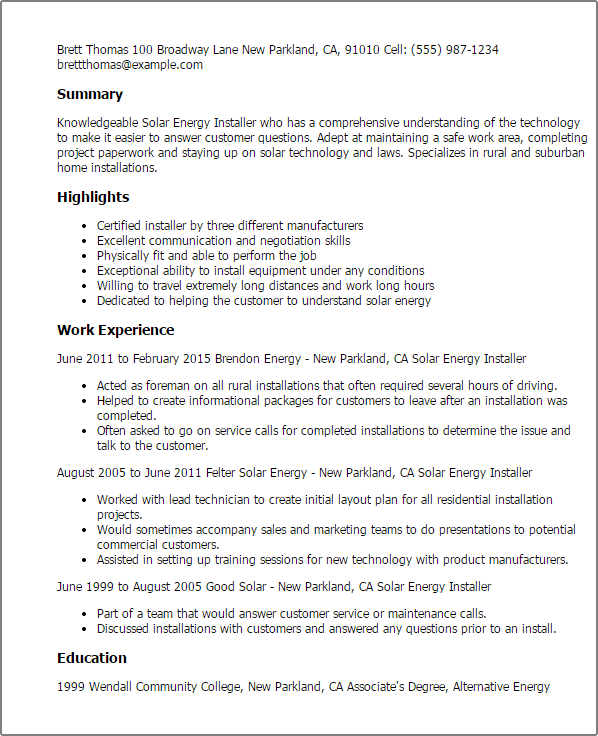 Resume Negotiation Skills Example Transferable Skills For Resume Monster  Professional Solar Energy Installer Templates To Showcase