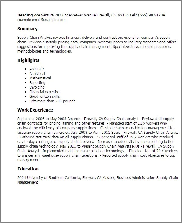Supply Chain Consultant Sample Resume] Supply Chain Resumes ...