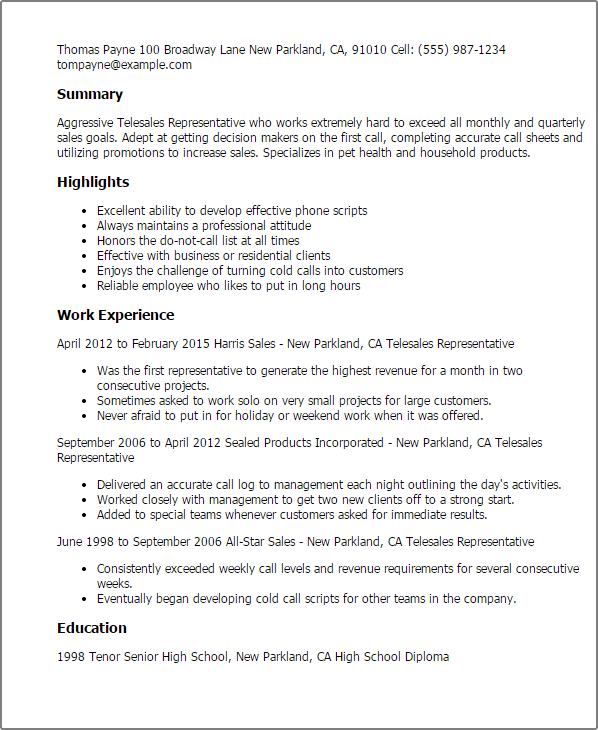 New Best Professional Profile Summary For Your Resume Professional Telesales Representative Templates To