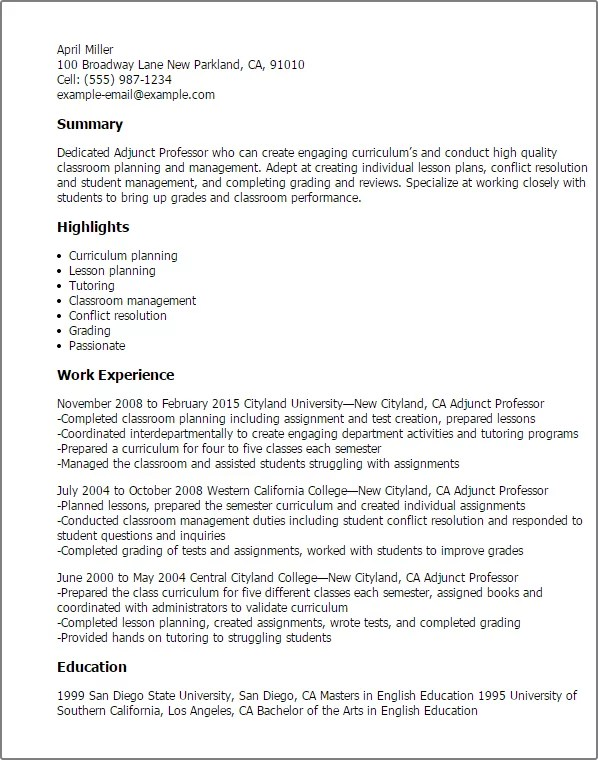 cover letter for adjunct position This is an example of adjunct faculty resume with objective cover letter templates cover seeking a rewarding position as an adjunct.