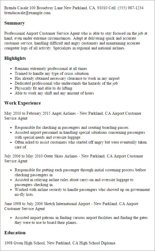 Professional Cv Writing Service Cv Master Careers Professional Airport Customer Service Agent Templates To