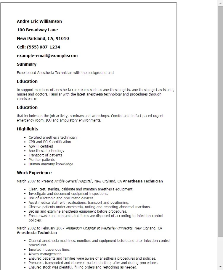 sample nurse technician resume free resume samples