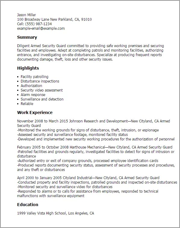 Sample Cv Of Security Guard – Security Guard CV Sample