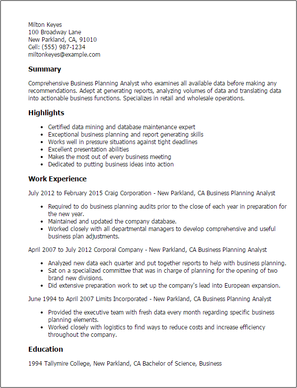ba sample resume